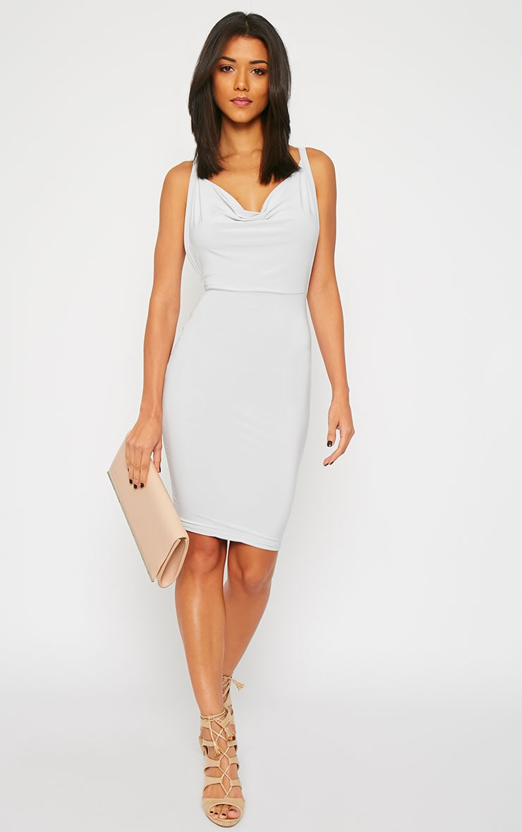 Orion Grey Slinky Cowl Neck Dress 5