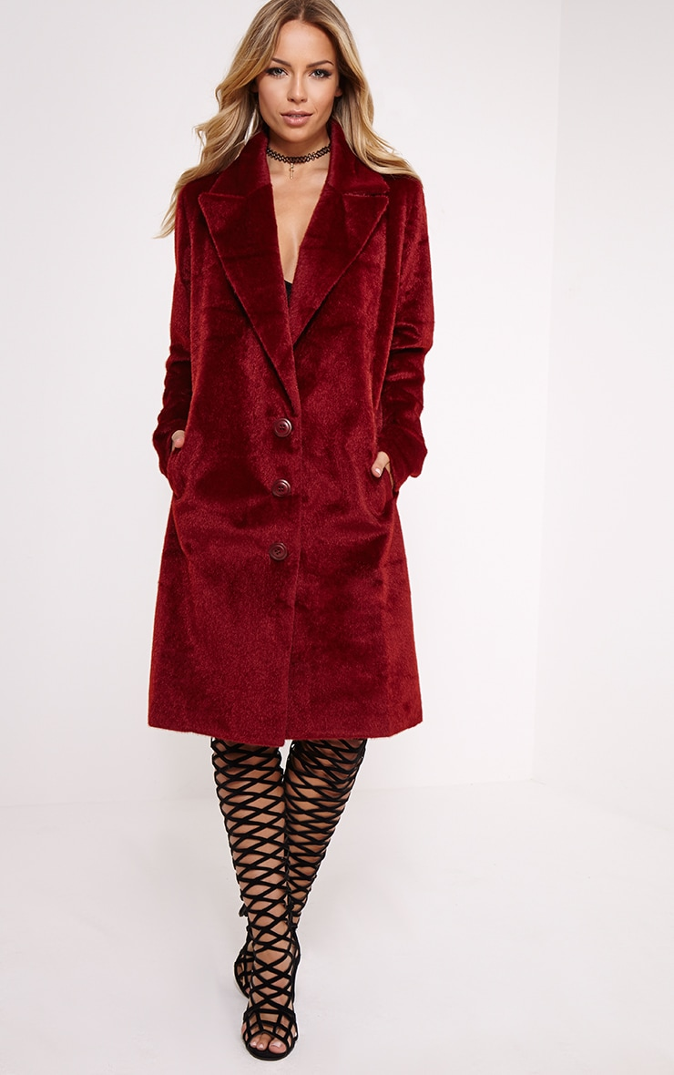 Perdita Oxblood Faux Pony Skin Coat 1