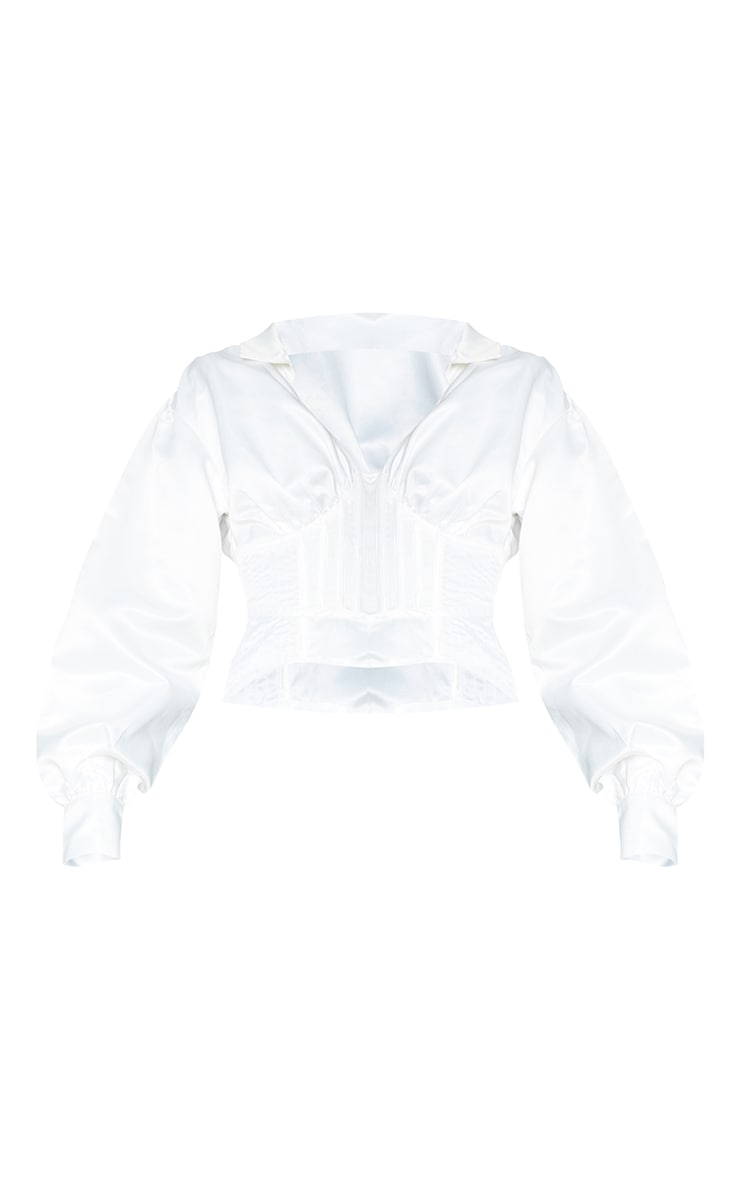White Satin Ruched Balloon Sleeve Boned Corset Detail Shirt 5
