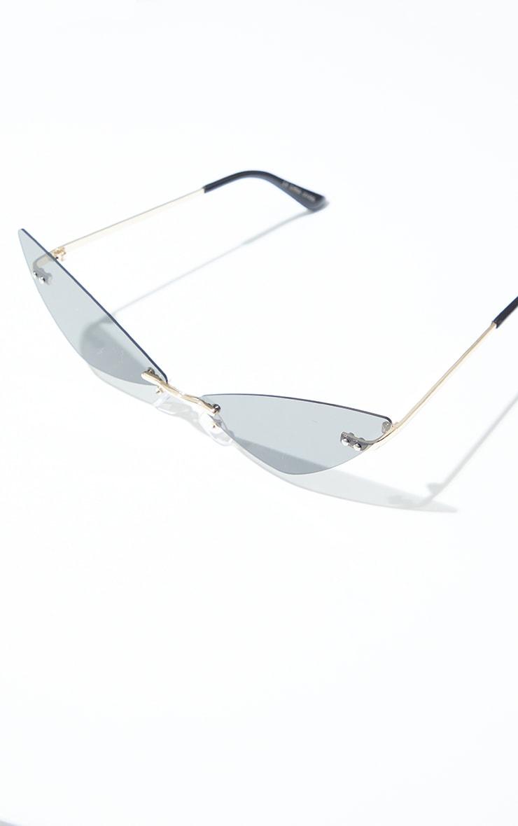 Brown Frameless Extreme Cat Eye Sunglasses 2