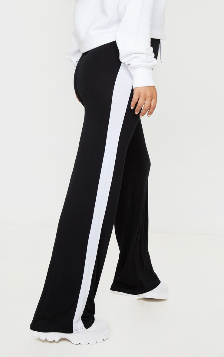 Petite Black Wide Leg Side Stripe Trouser  4