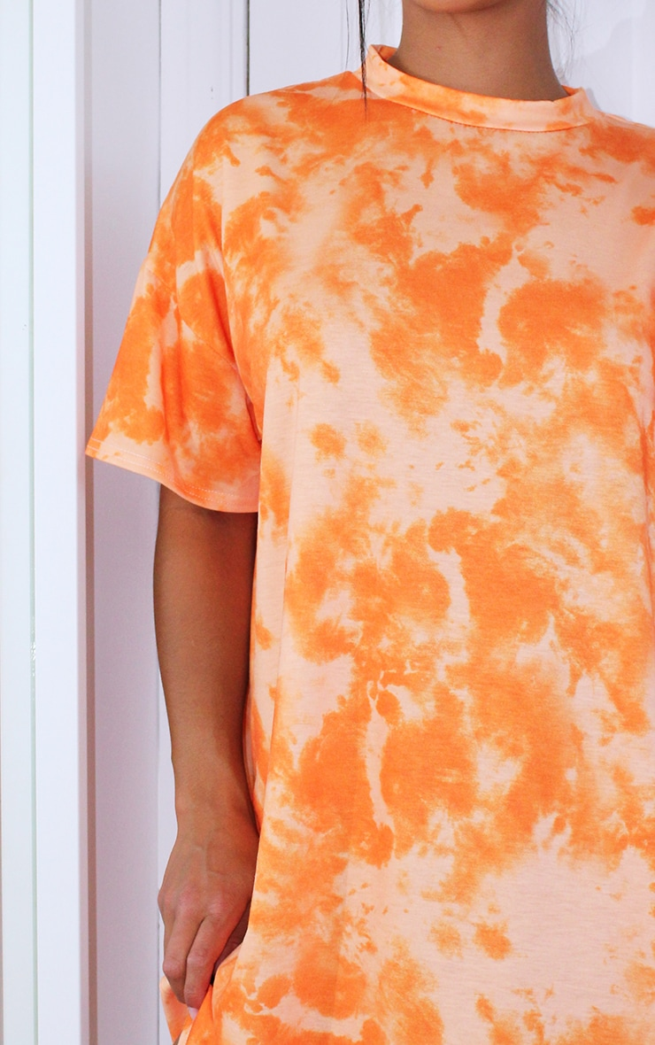 Petite Orange Oversized Tie Dye T Shirt Dress 4