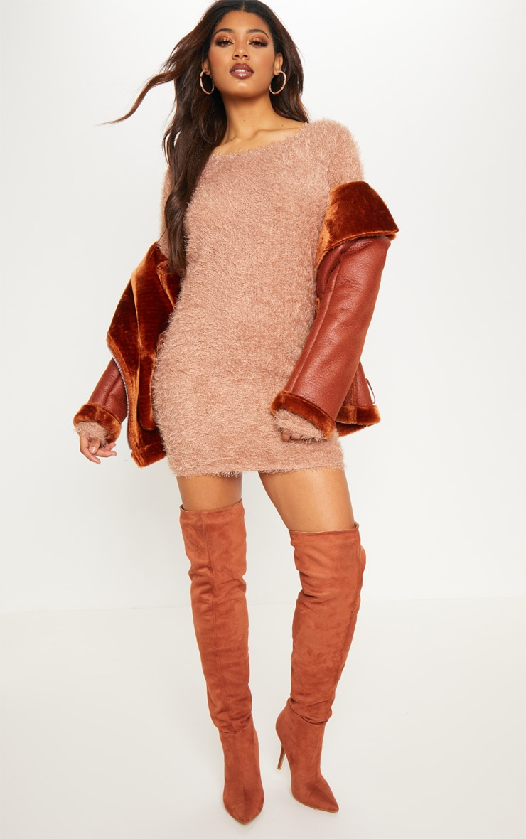 Tall Brown Fluffy Knit Jumper Dress 4