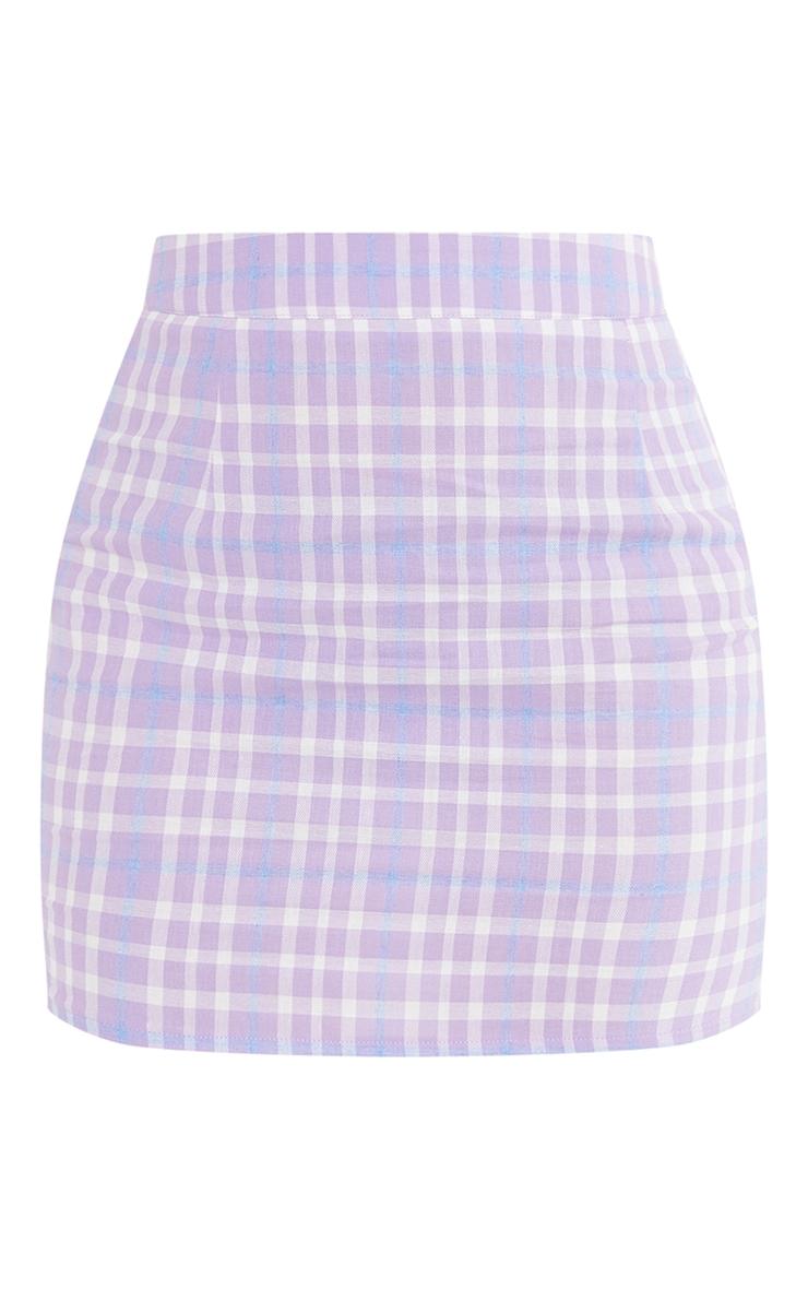Petite Lilac Checked Bodycon Skirt 6