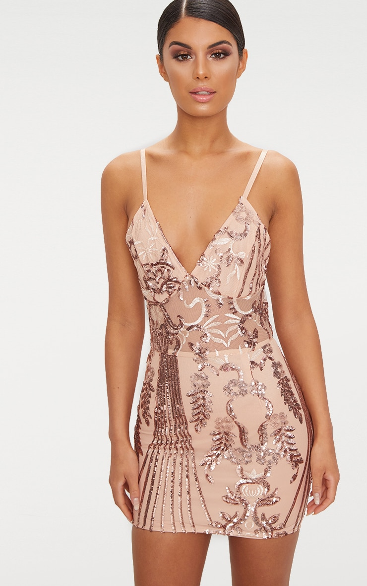 ROSE GOLD STRAPPY SHEER PANEL SEQUIN BODYCON DRESS