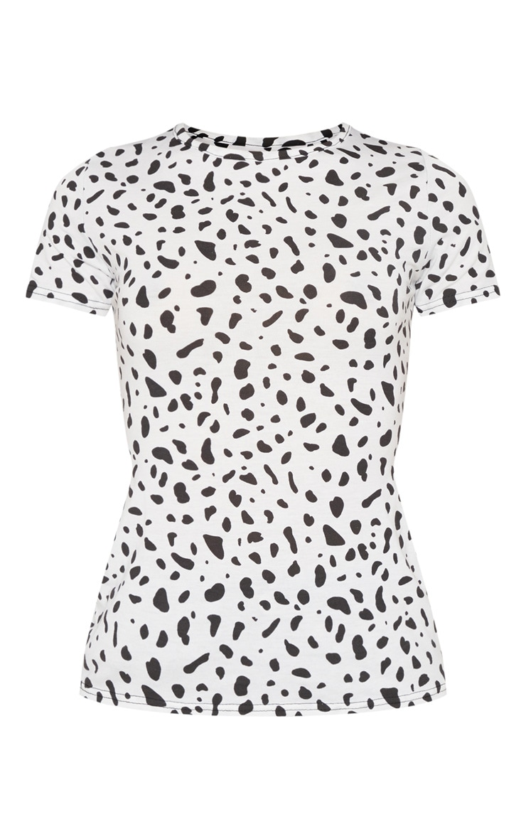 Black Dalmatian Printed Fitted Short Sleeve T shirt 3