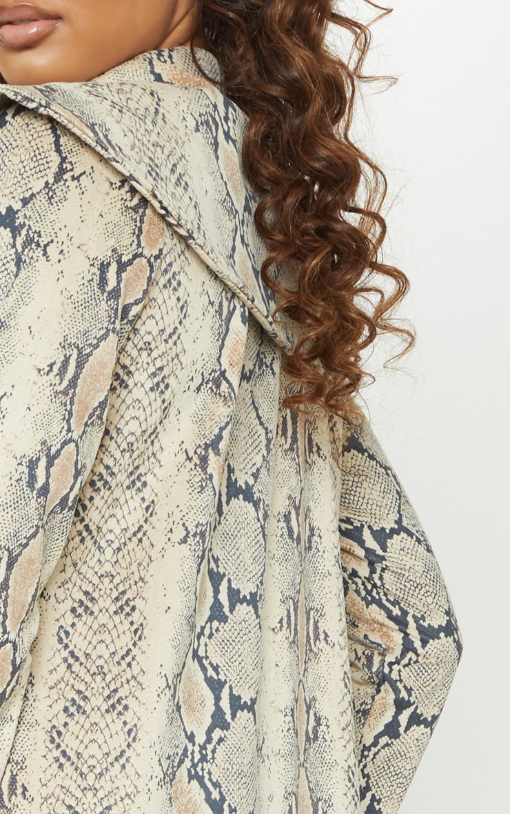 Tall Taupe Faux Suede Snake Print Longline Coat 4