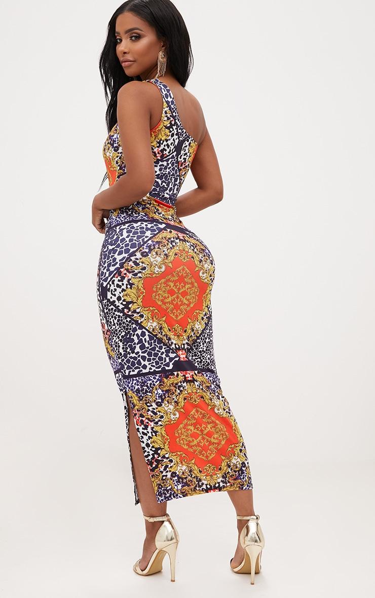 Shape Scarf Print One Shoulder Slinky Midaxi Dress 2