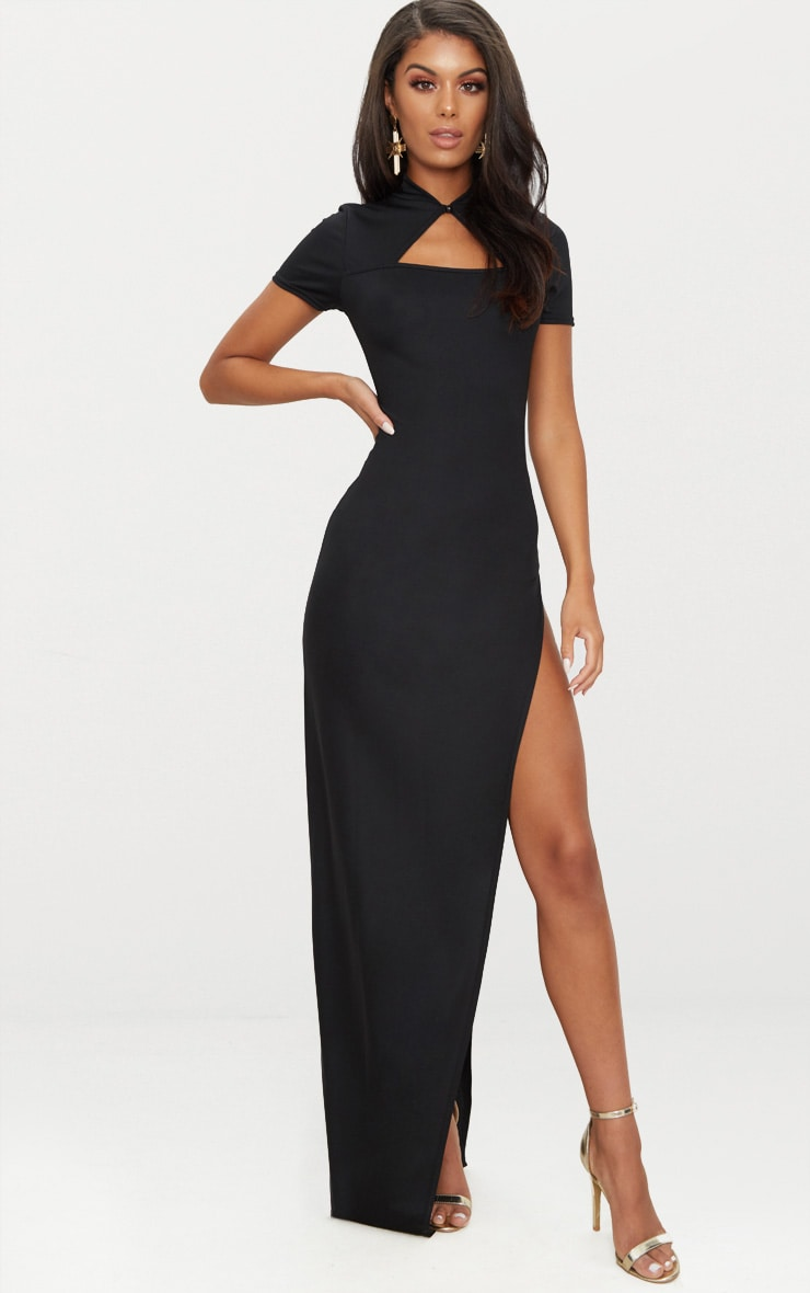Black Oriental Cut Out Detail Maxi Dress 1