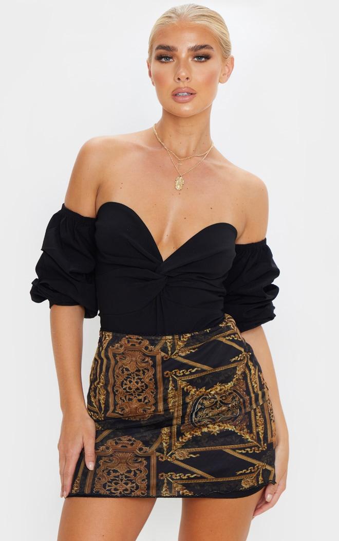 Black Woven Bardot Ruched Bodysuit 1