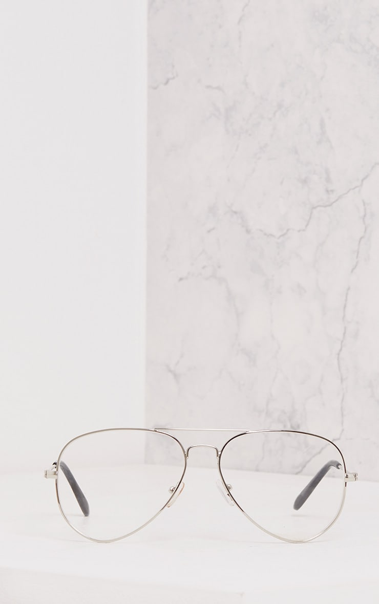 Kennie Silver Clear Lens Aviators 3