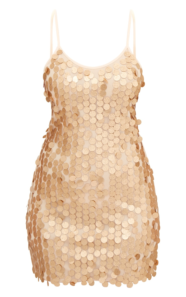 Gold Glitter Sequin Front Cami Dress  3
