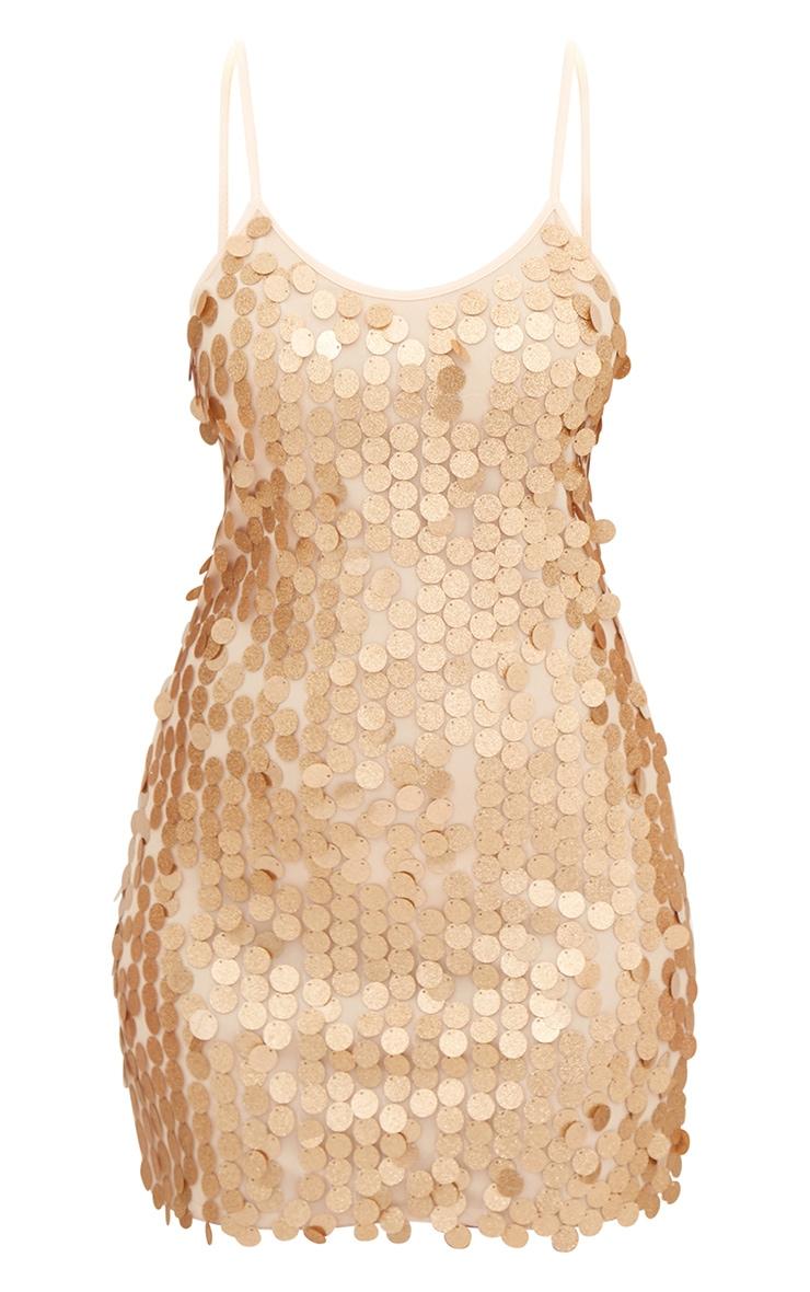 Gold Glitter Sequin Front Cami Dress  3