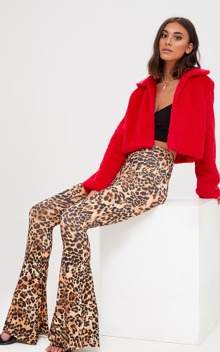 Red Cropped Faux Fur Coat 4
