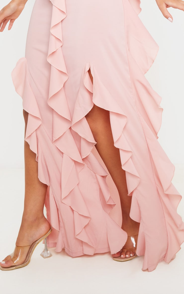 Dusty Pink Cold Shoulder Ruffle Detail Maxi Dress 4
