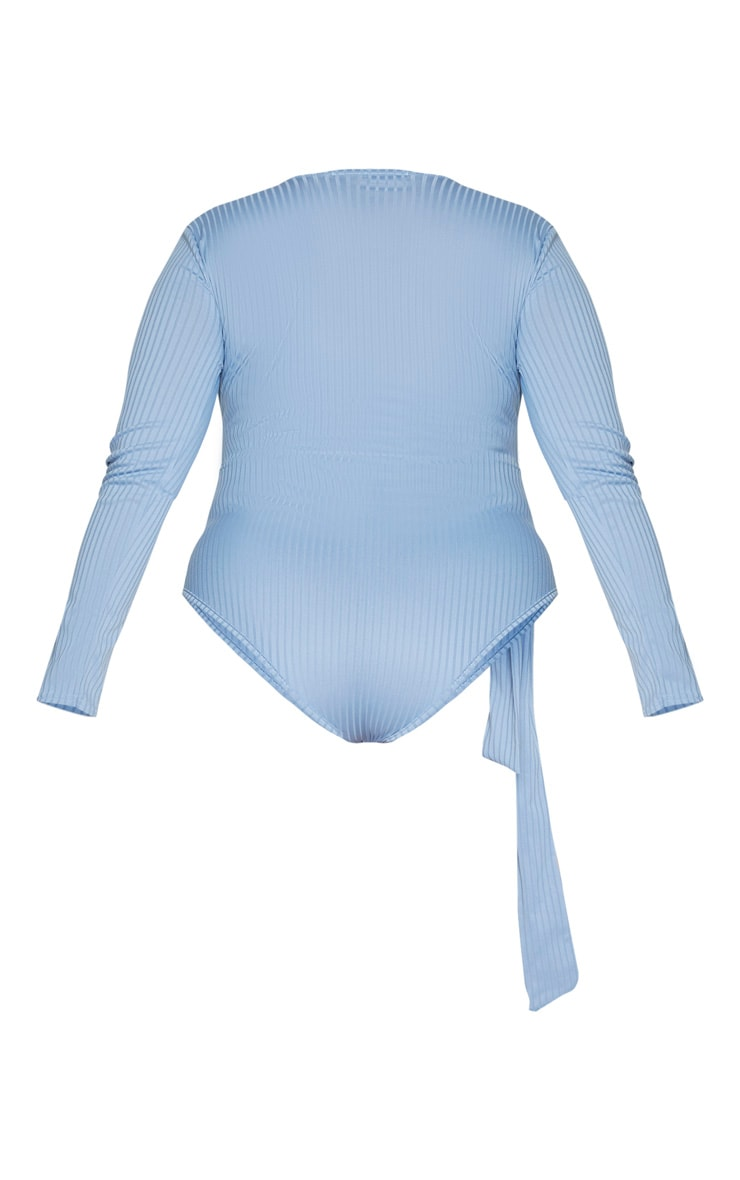 Plus Dusty Blue Ribbed Tie Waist Bodysuit 6
