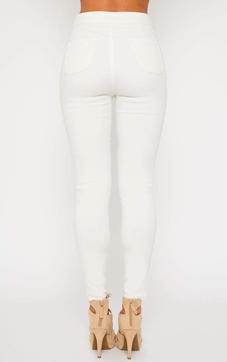 Millie Cream High Waist Ripped Jeans 4