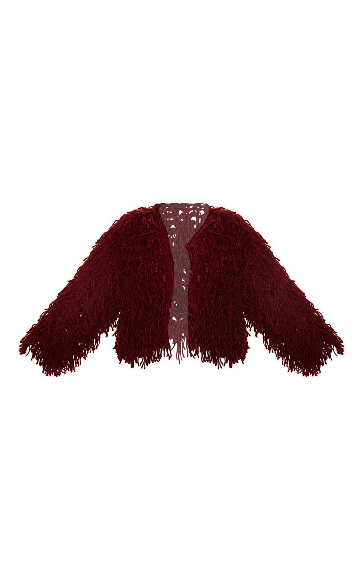 Plus Burgundy Shaggy Knit Cropped Cardigan 3