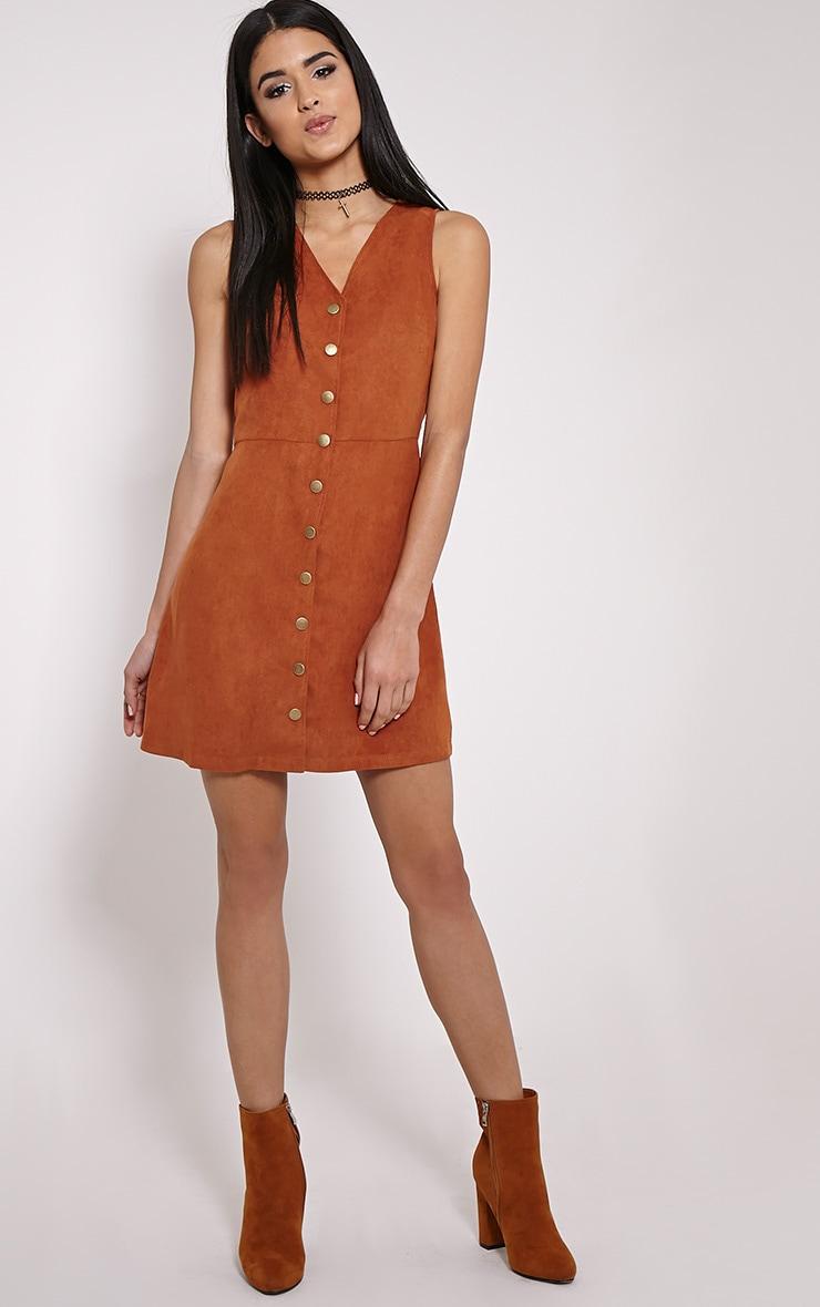 Caiden Rust Button Down Faux Suede Mini Dress 3