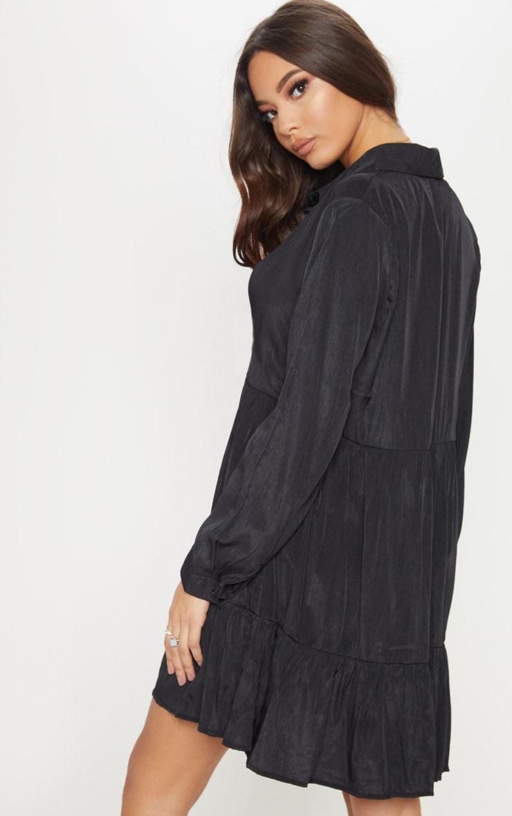 Black Tiered Shirt Dress 2