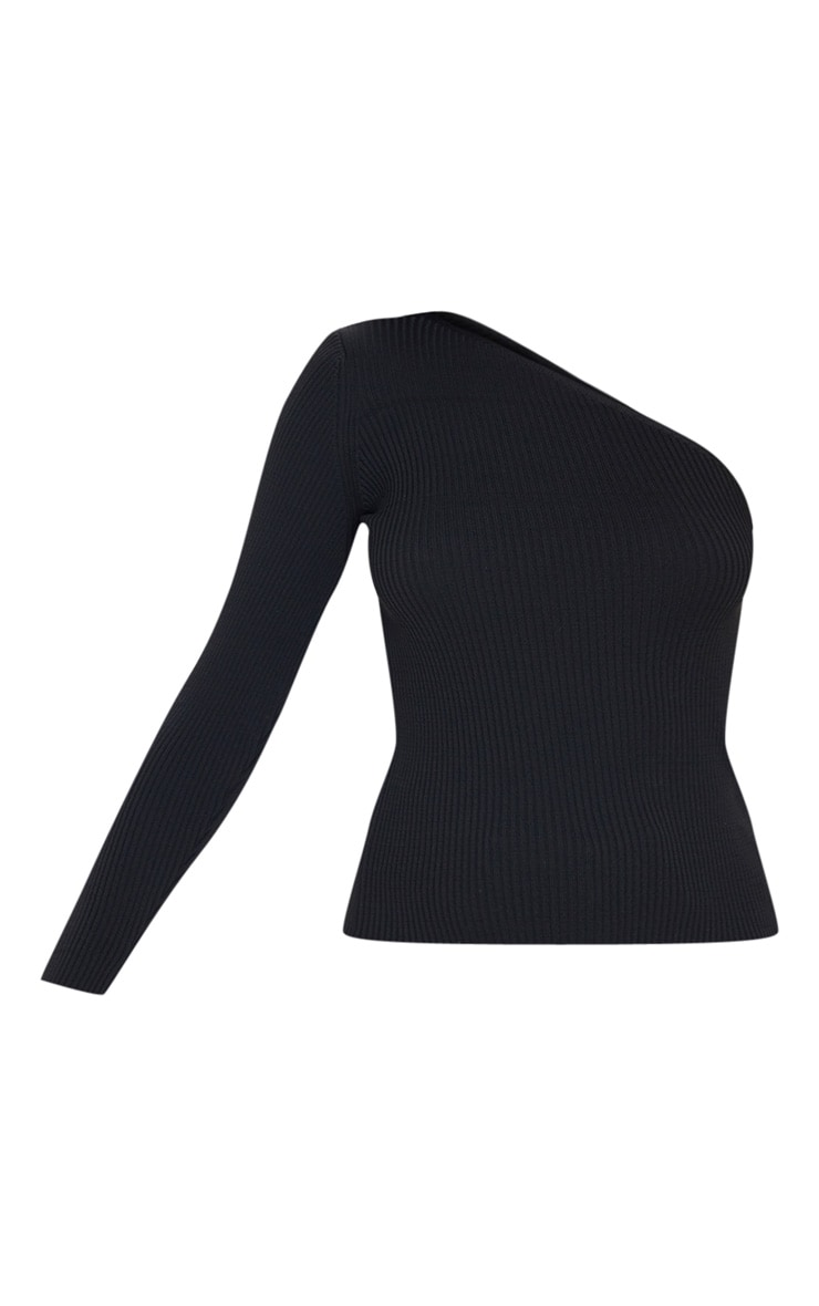 Black Asymmetric One Sleeve Knitted Rib Top 3