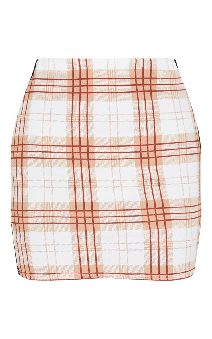 Rust Check Contrast Panel Mini Skirt 3