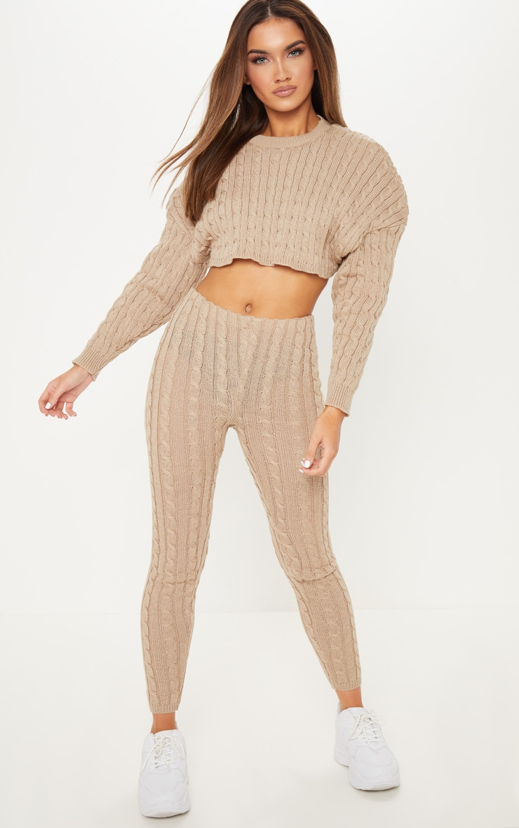 Stone Cable Knit Crop Jumper & Legging Set