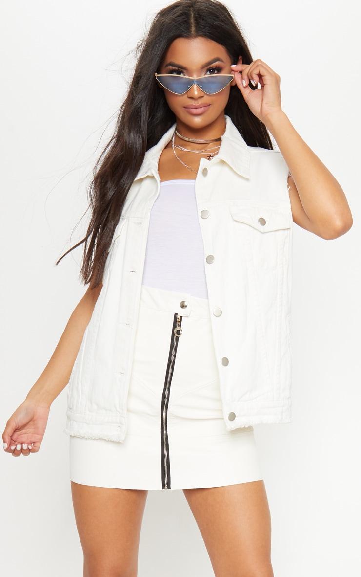 White Sleeveless Distressed Denim Jacket
