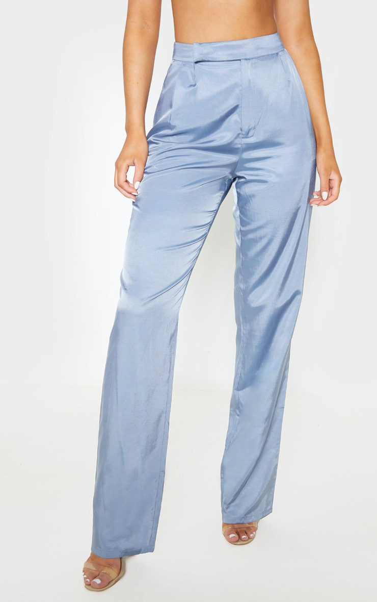 Grey Woven Pleat Detail Straight Leg Pants 2