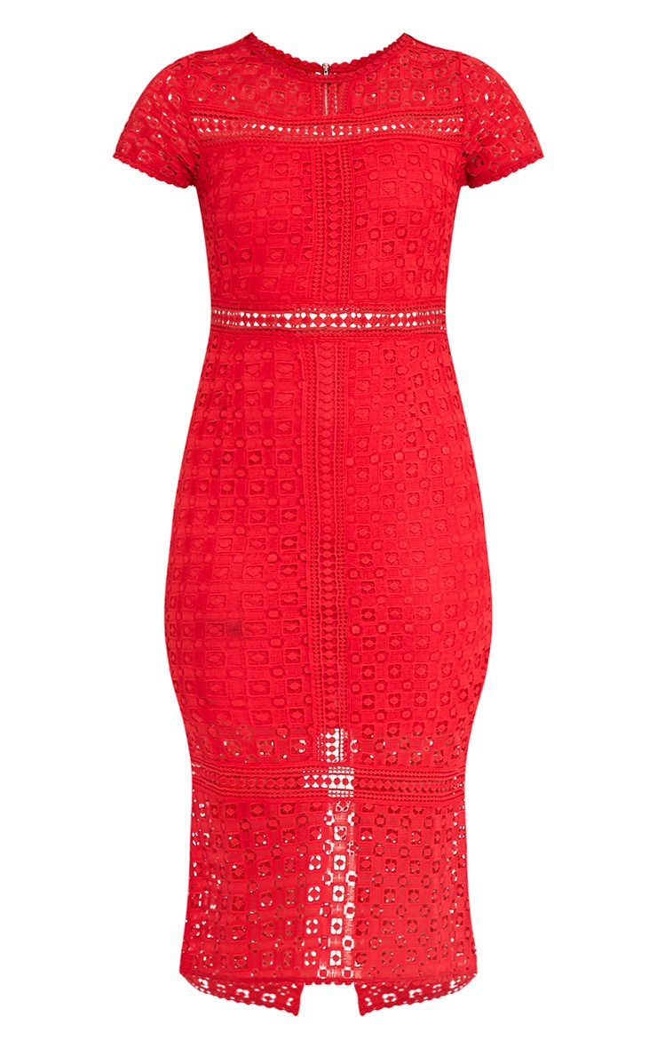 Midira Red Crochet Lace Midi Dress 3
