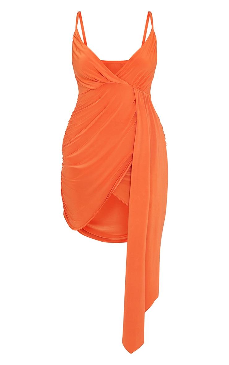 Orange Slinky Drape Detail Strappy Bodycon Dress 5