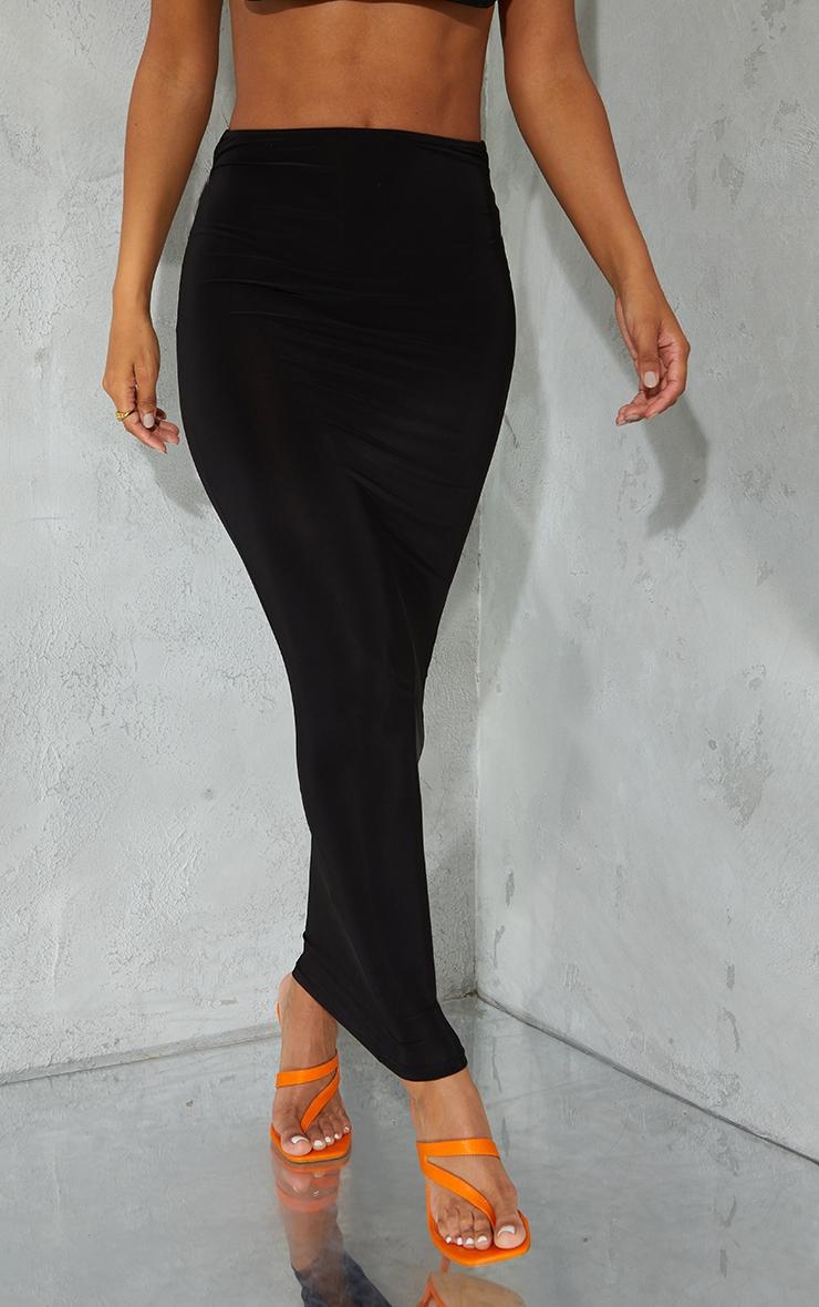 Black Slinky Thong Bum Detail Midaxi Skirt 2
