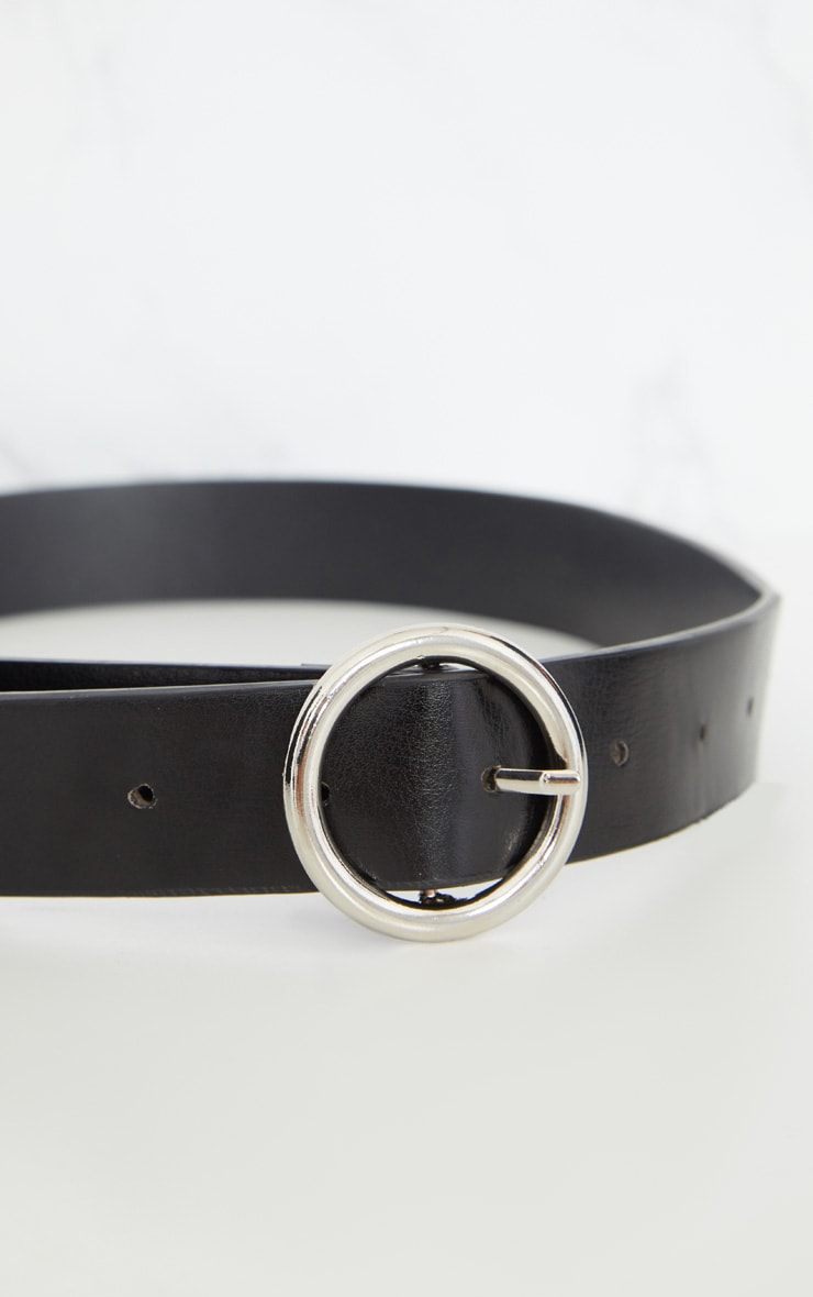 Black Basic Circle Buckle Belt 6