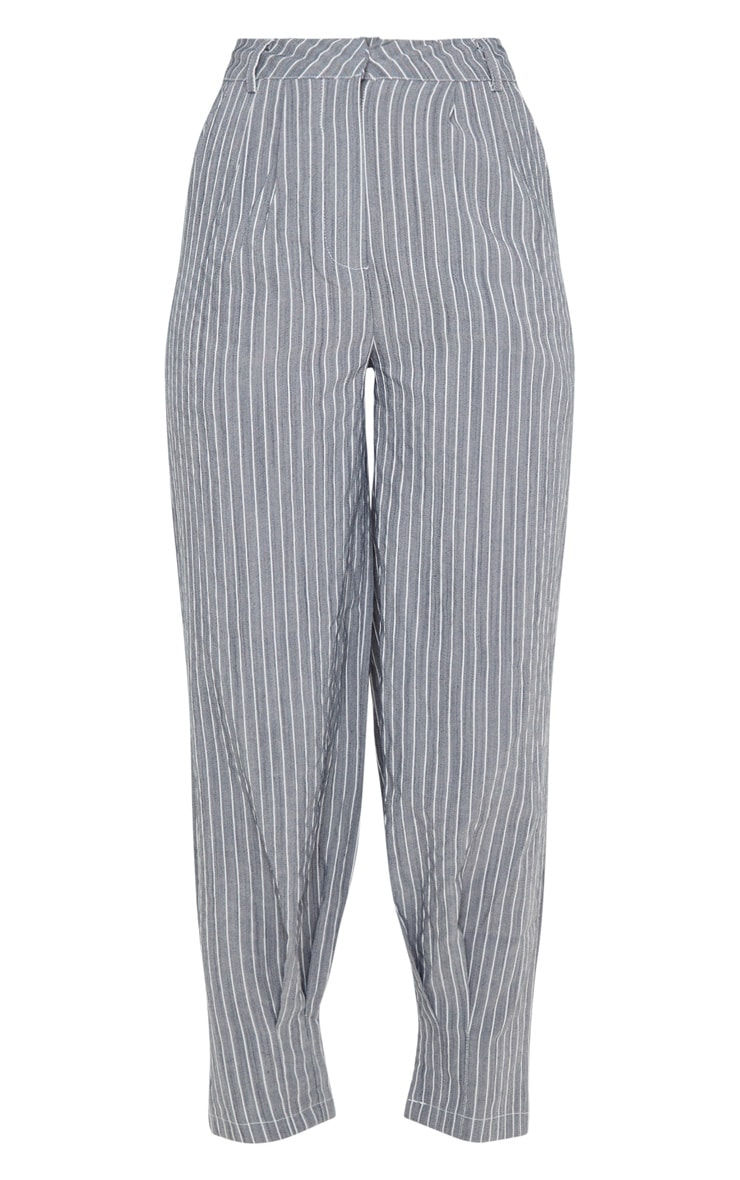 Grey Pinstripe Oversized Cuffed Cigarette Pants 3