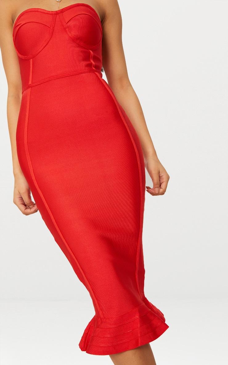 Roxina Red Bandage Frill Hem Midi Dress 5