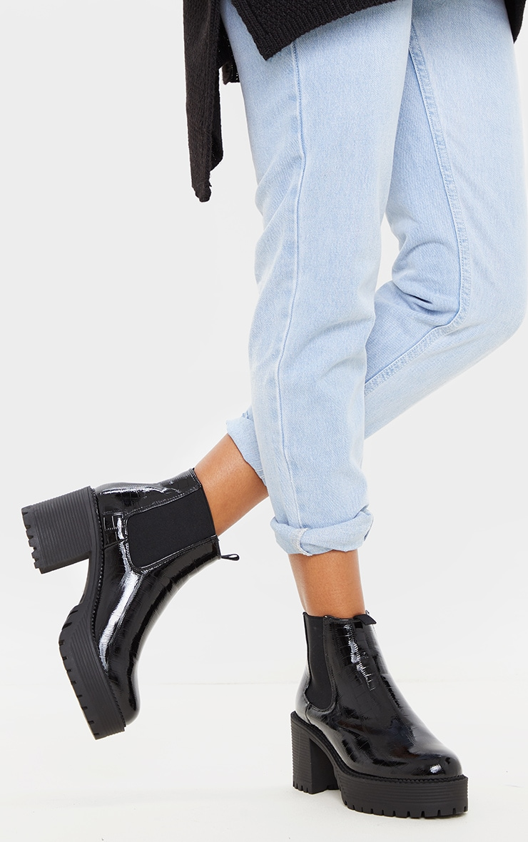 Black PU Chunky Cleated Chelsea Ankle Boot 2