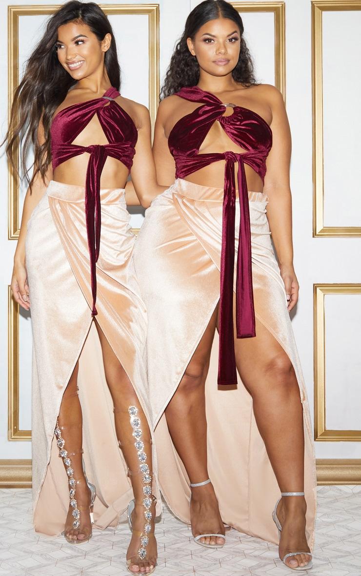 Champagne Velvet Wrap Maxi Skirt 2