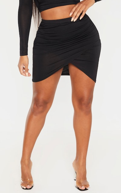 Shape Black Jersey Ruched Bodycon Skirt