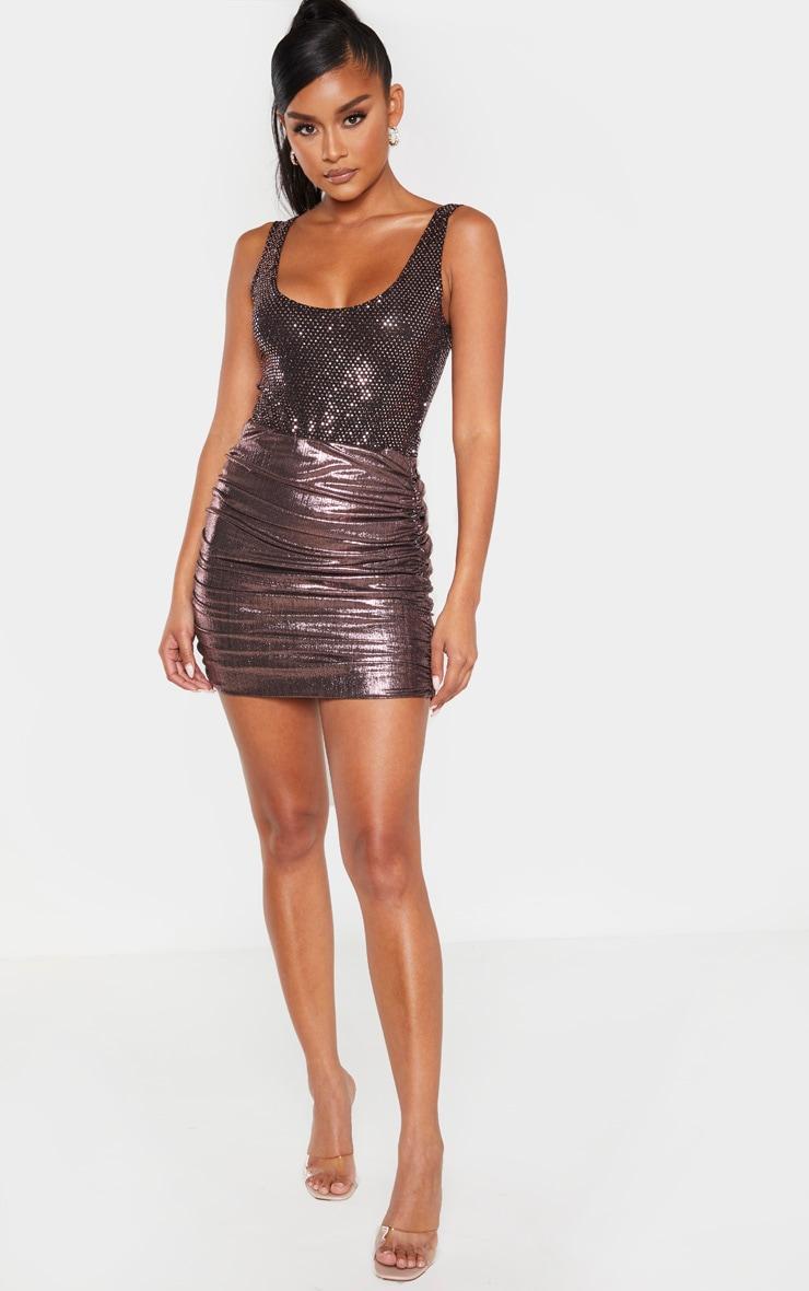 Rose Gold Sequin Strappy Bodysuit  4