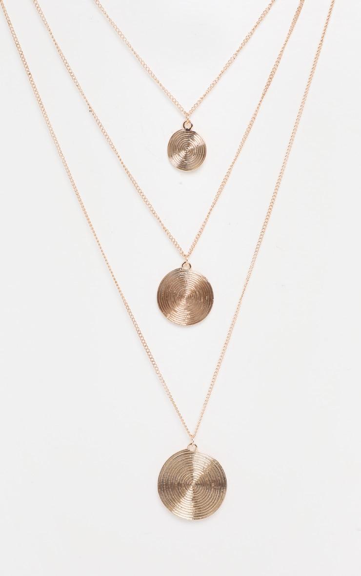 Gold Circular Pendant Drop Necklace 3
