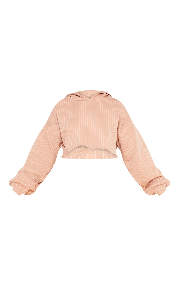 RECYCLED Plus Pale Tan Pinstripe Crop Hoodie 3