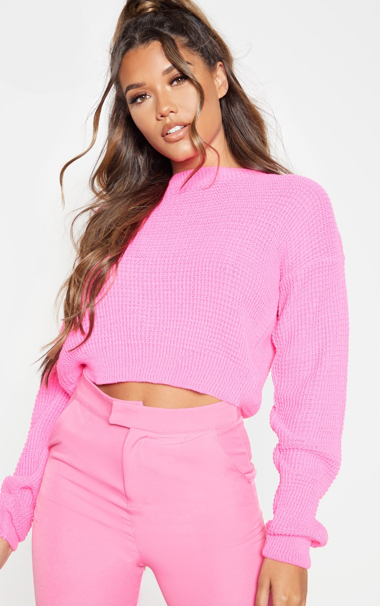 Hot Pink Fisherman Knitted Jumper by Prettylittlething