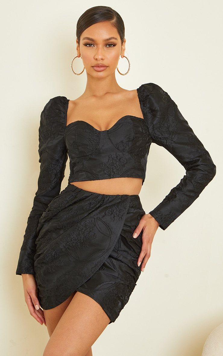 Black Structured Embossed Jacquard Panel Front Puff Mini Skirt 4