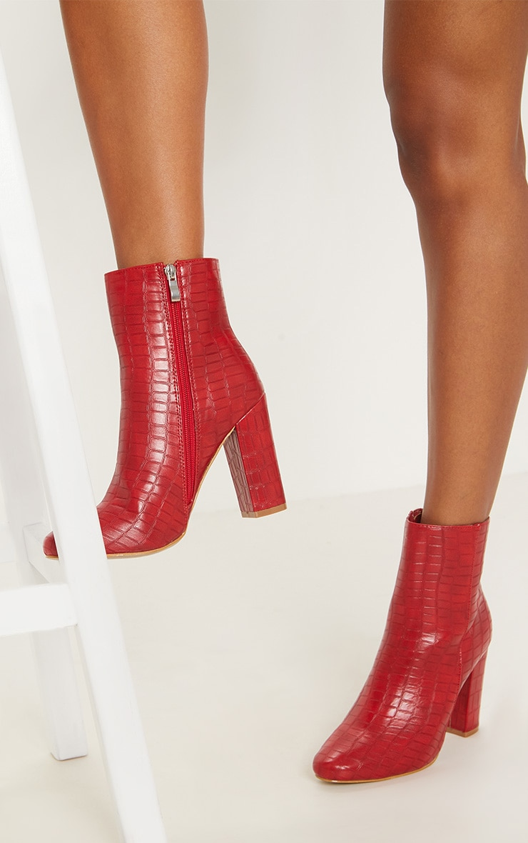 Behati Red Faux Croc Ankle Boot 2