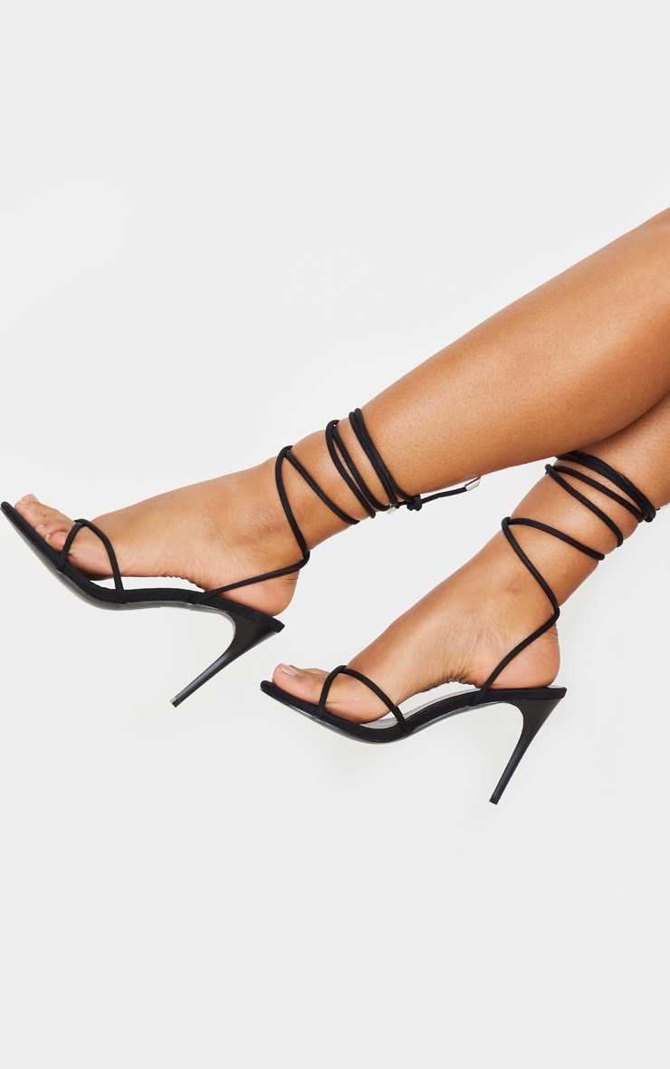 Black Cross Strap Lycra Sandal 3