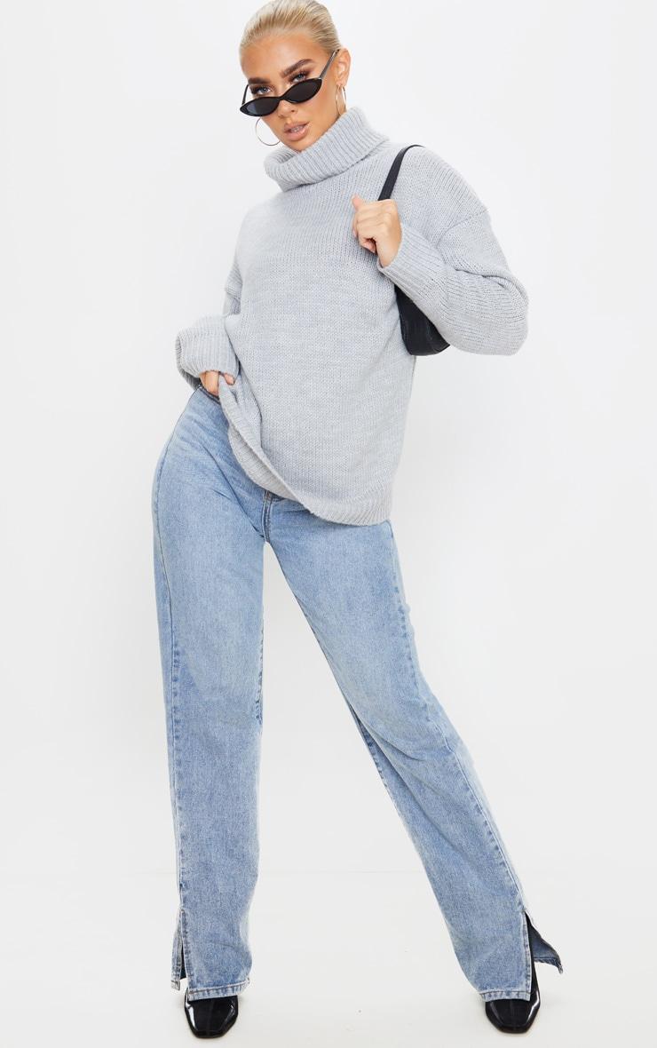 Grey High Neck Fluffy Knit Jumper  4