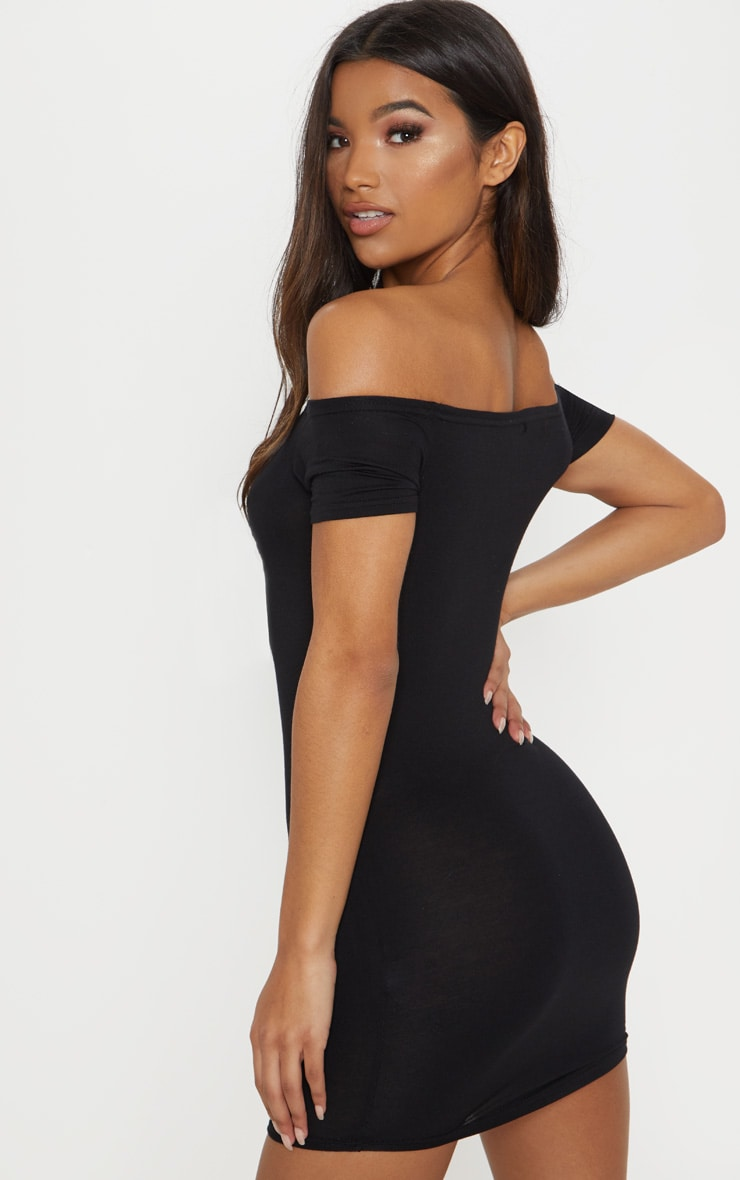 Basic Black Curve Hem Bardot Bodycon Dress 2
