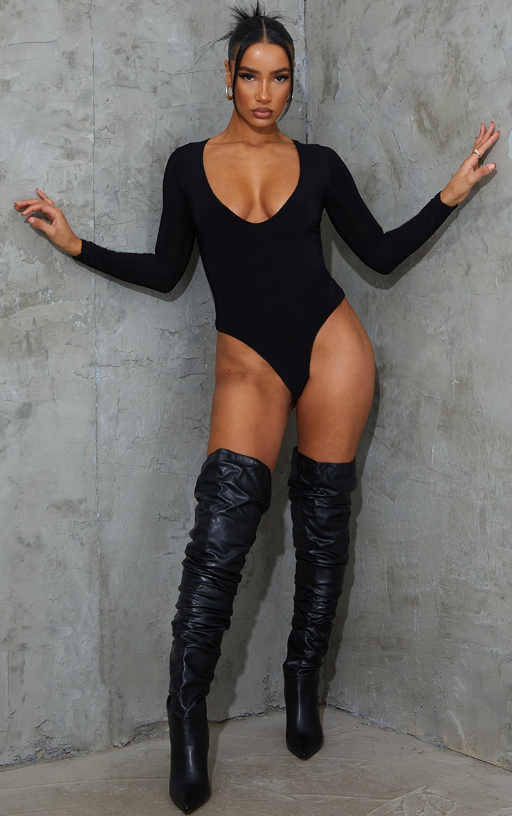 Black V Neck Slinky Bodysuit 1