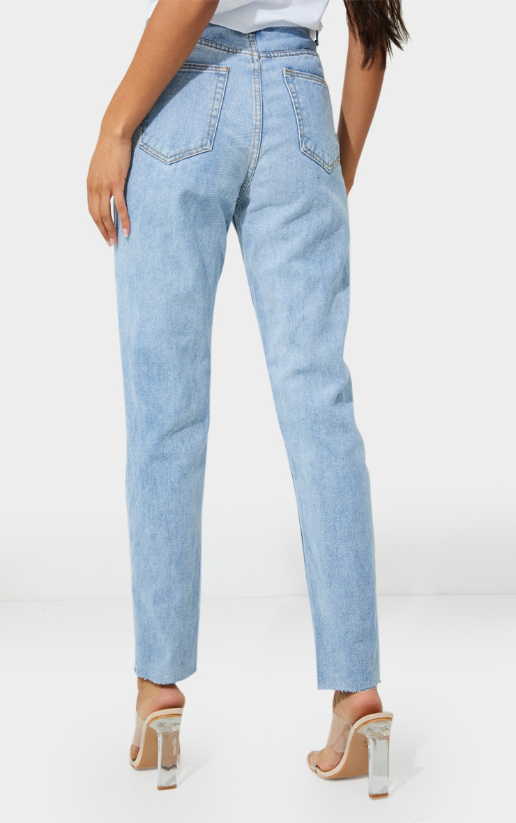 PRETTYLITTLETHING Light Blue Wash Extreme Distressed Slim Fit Mom Jeans 3