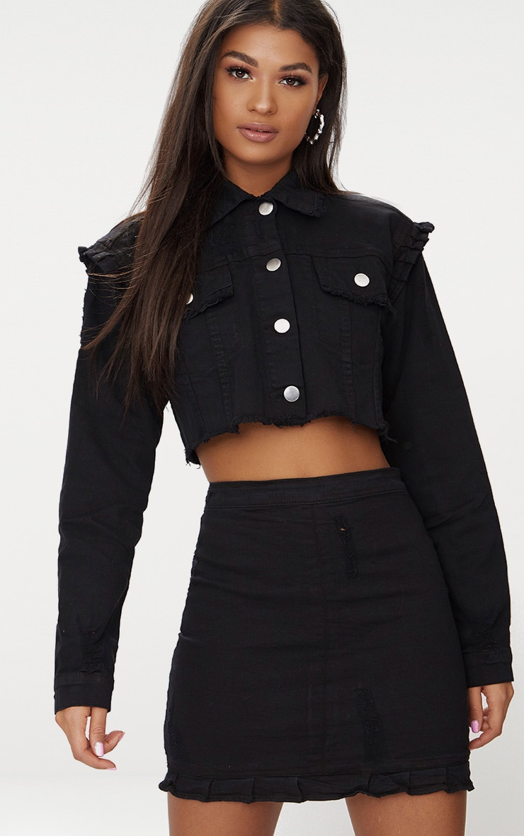 Black Ruffle Cropped Denim Jacket 1